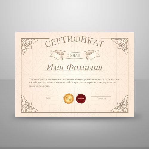 Шаблон для печати сертификата №6